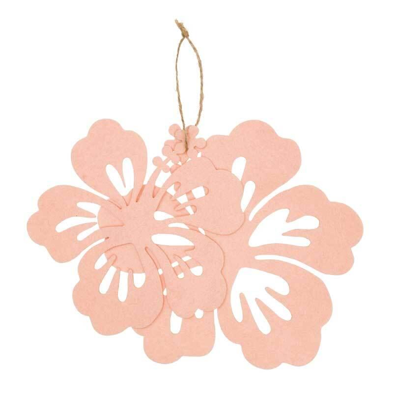 Vilten decoratiedelen - hibiscus, abrikoos