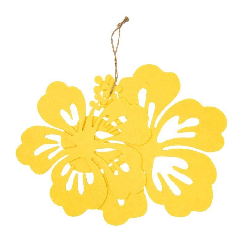 Vilten decoratiedelen - hibiscus, citroen