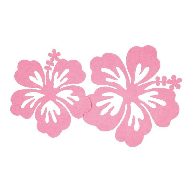 Vilten decoratiedelen - hibiscus, roze