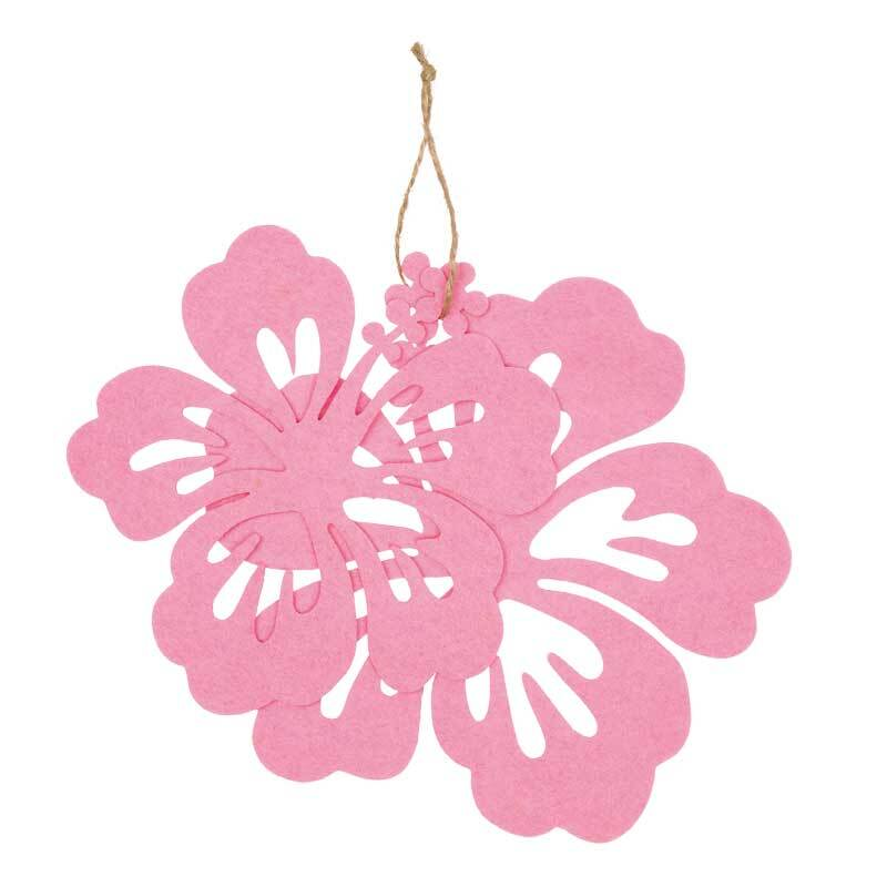 Eléments déco feutrine - Hibiscus, rose