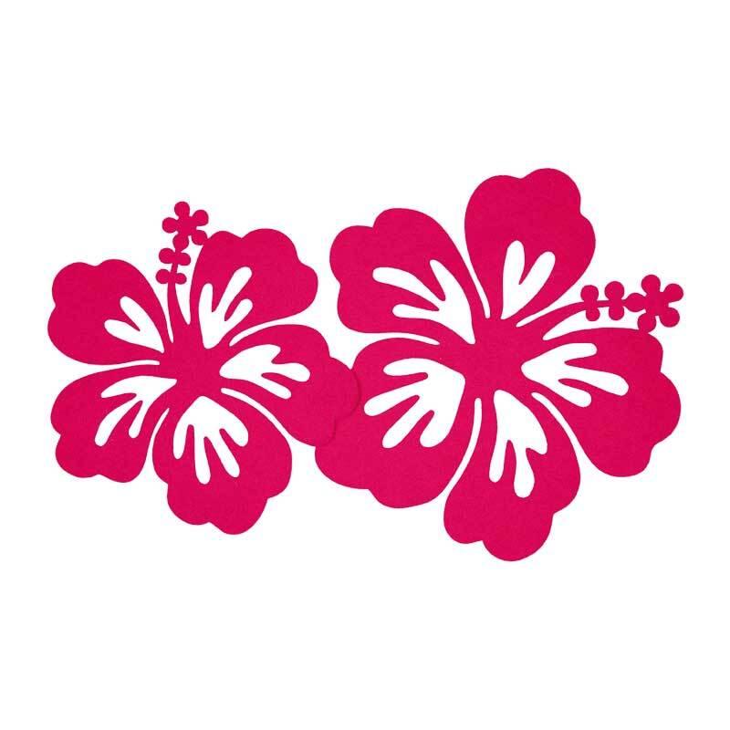 Vilten decoratiedelen - hibiscus, zuurstokroze