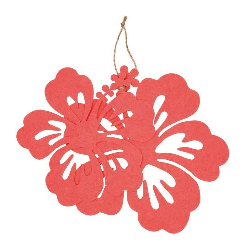 Filz Dekoteile - Hibiskus, koralle