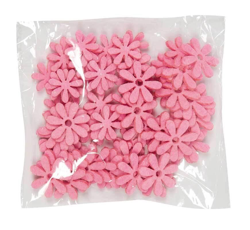Vilten decoratie delen - bloemen, roze