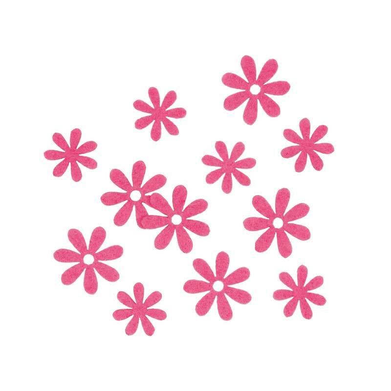 Filz Dekoteile - Blümchen, pink