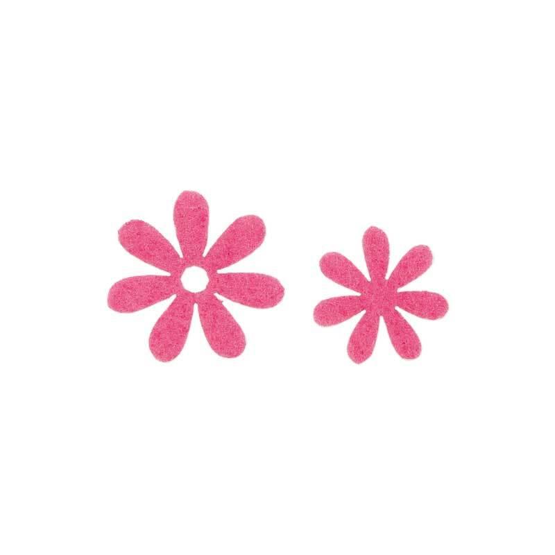 Eléments déco feutrine - Fleurs, pink