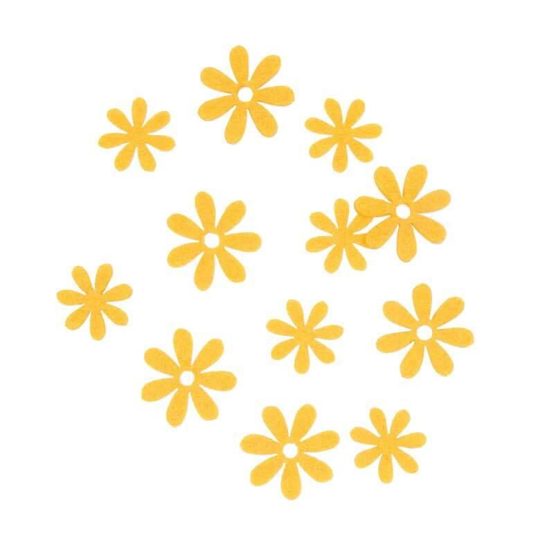 Vilten decoratie delen - bloemen, geel