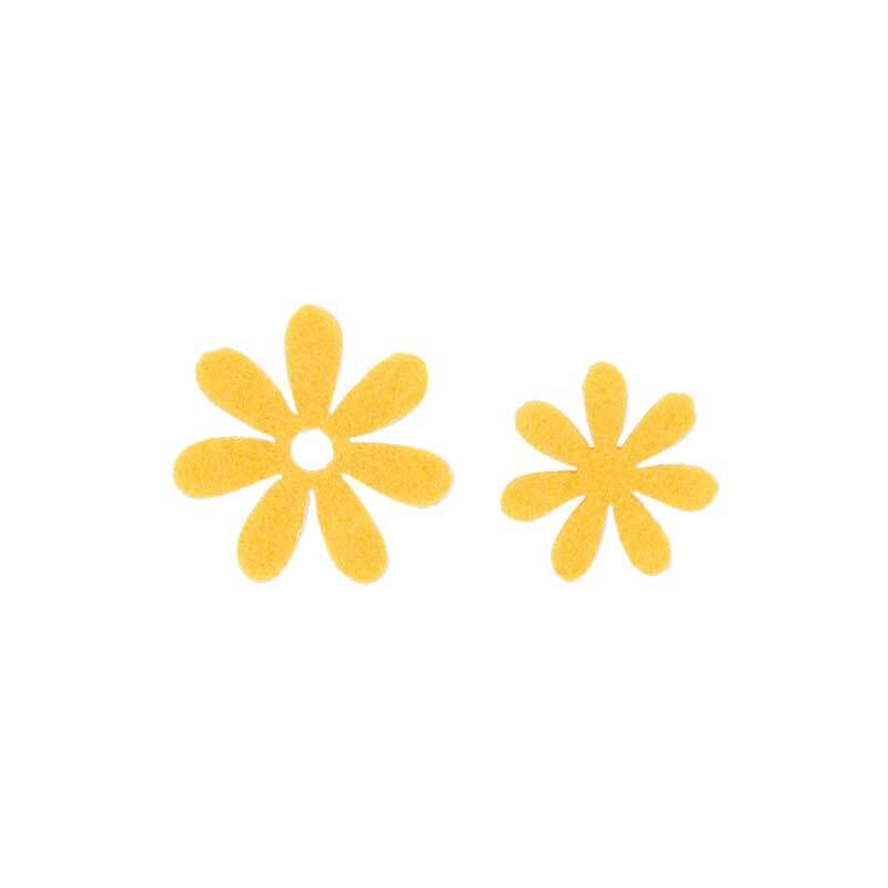 Filz Dekoteile - Blümchen, gelb