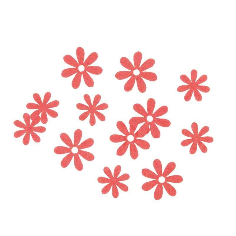 Vilten decoratie delen - bloemen, koraal