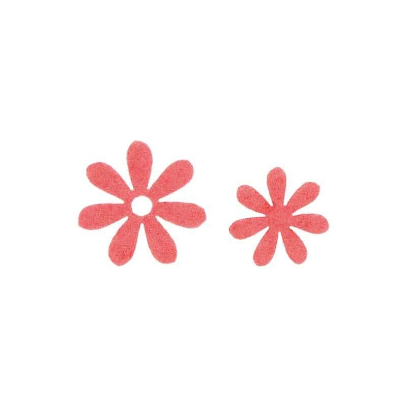 Eléments déco feutrine - Fleurs, corail