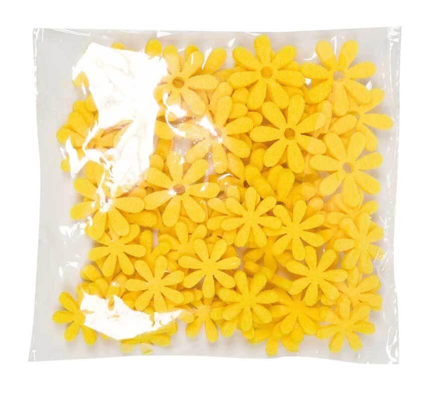 Filz Dekoteile - Blümchen, lemon