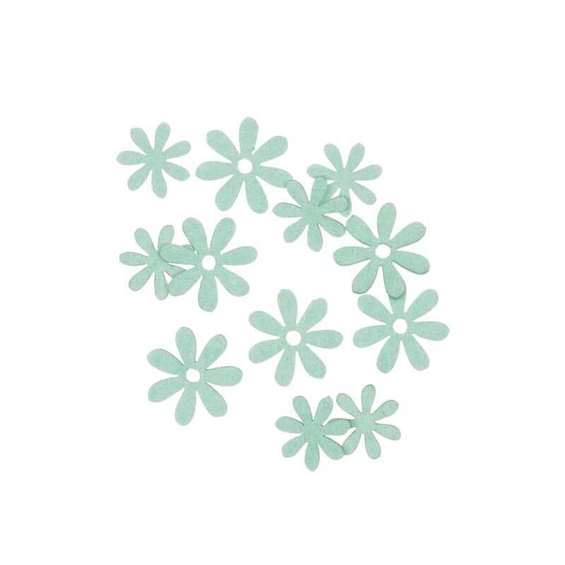 Vilten decoratie delen - bloemen, mint