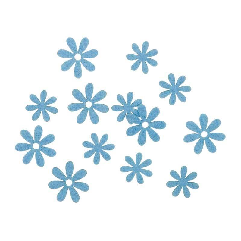 Vilten decoratie delen - bloemen, blauw