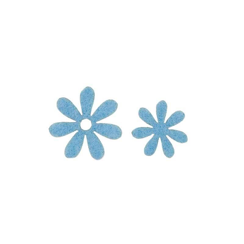 Filz Dekoteile - Blümchen, blau
