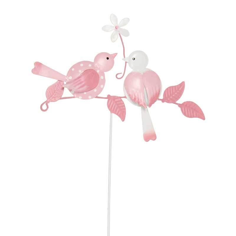 Metall-Stecker - Vögel, rosa