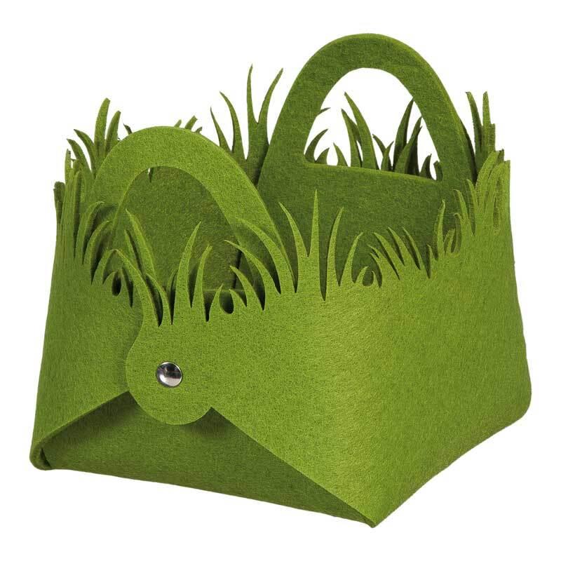 Corbeille en feutrine - Pré, vert herbe