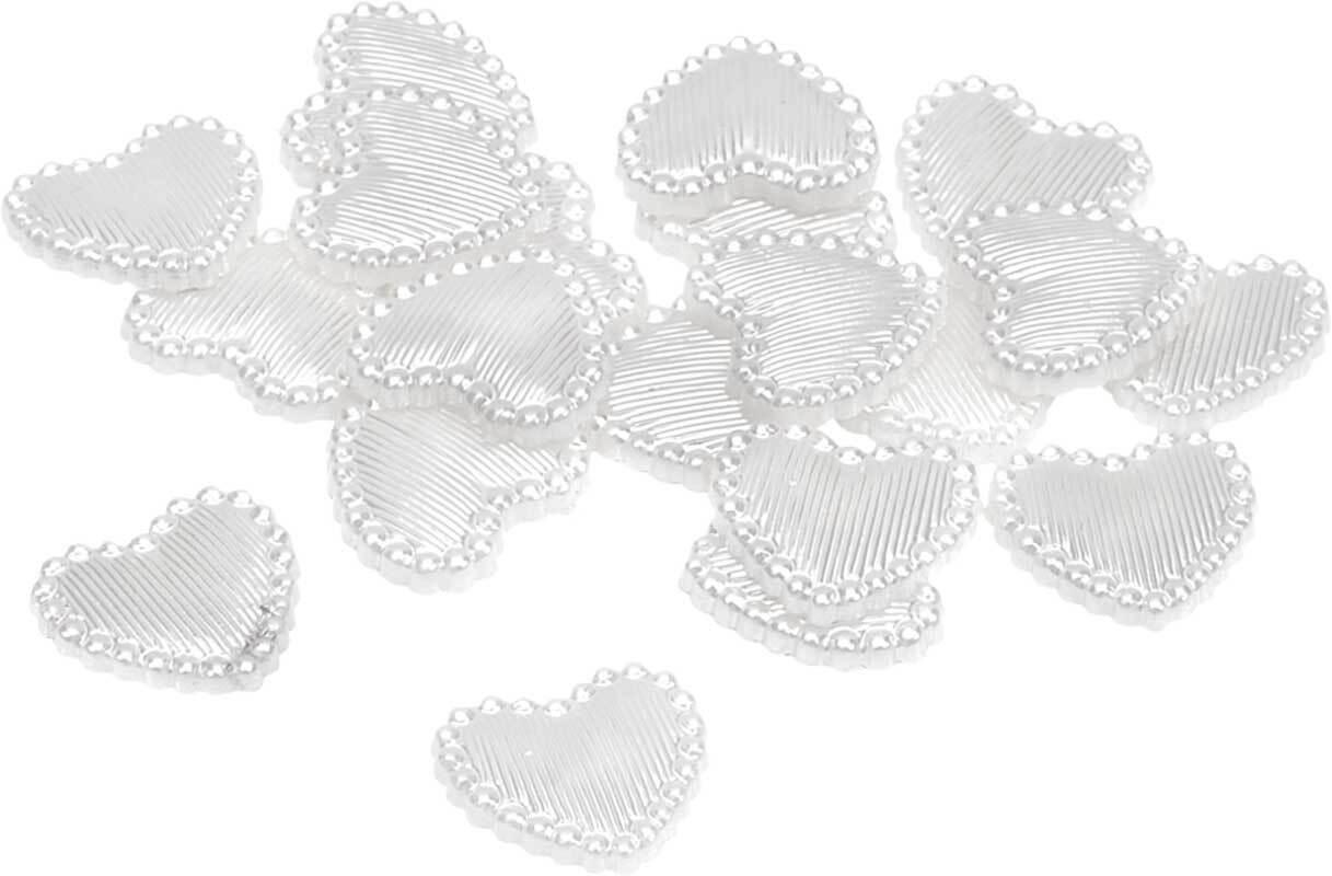 Kunststof decoratiedelen - hartjes, wit