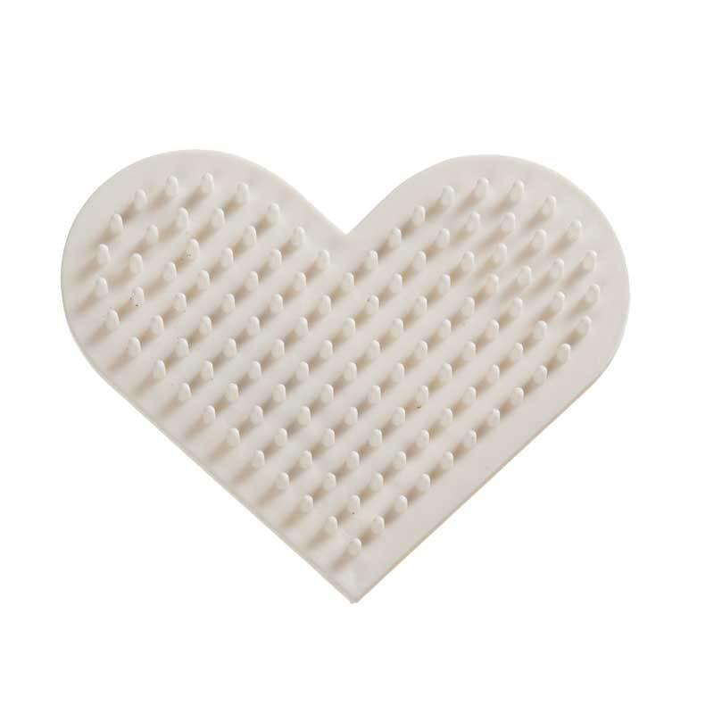 Bio strijkkralenbordje - hart, 8 cm