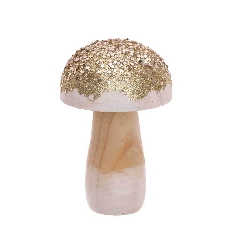Deko Pilz - klein, gold Glitter