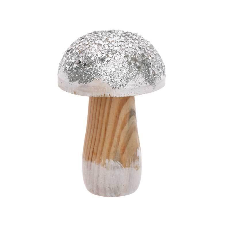 Deko Pilz - klein, silber Glitter