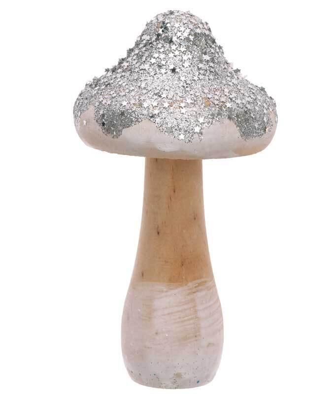 Decoratie paddenstoel - groot, zilver glitter