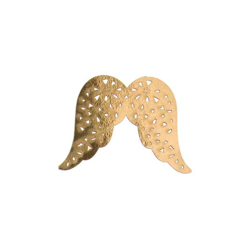 Engel vleugels papier, 7 x 5 cm, goud