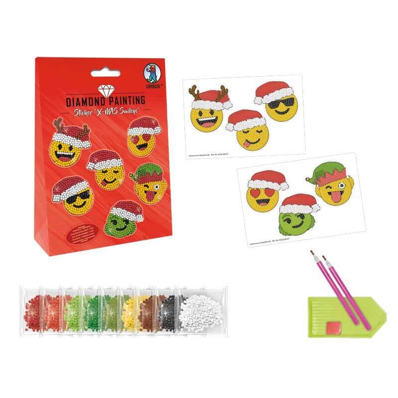 Diamond Painting Set - Sticker, X-MAS Smileys