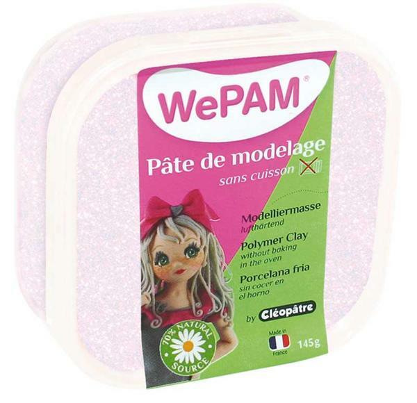 WePAM modelleermassa - 145 g, wit glitter