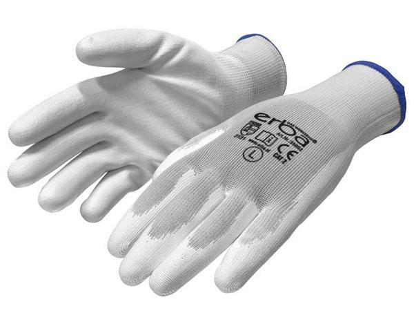 Gants polyester mailles fines - blanc, Taille XL