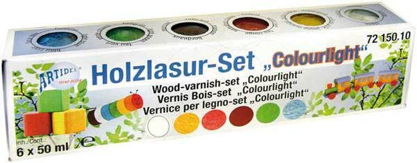 Hout lazuurverf set - 6 x 50 ml, Colourlight