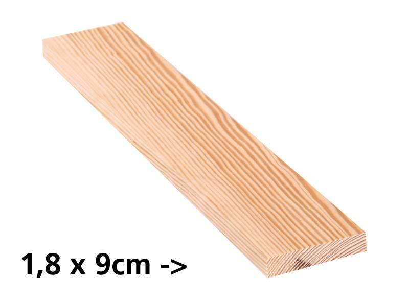 Planche en pin - 10 cm, 1,8 x 9 cm