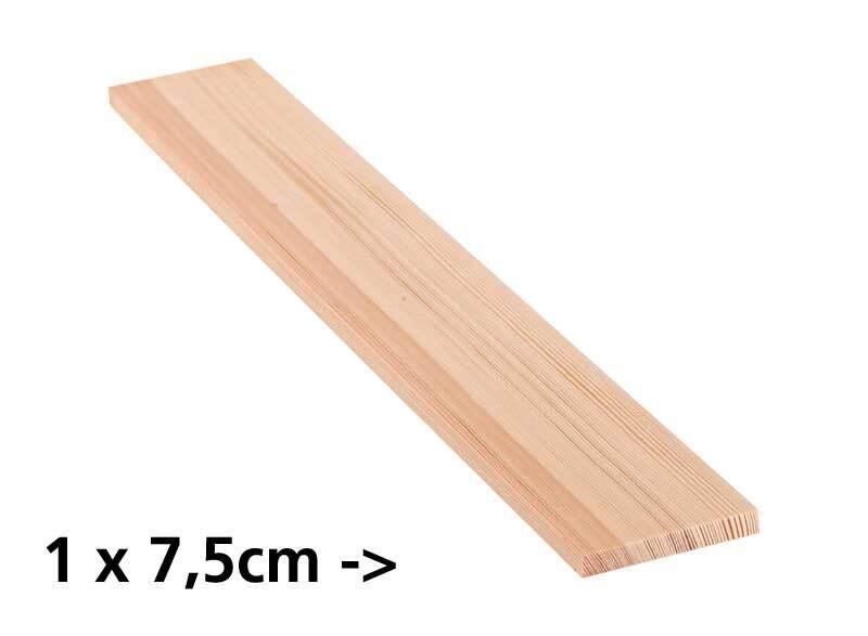 Planche en pin - 10 cm, 1 x 7,5 cm