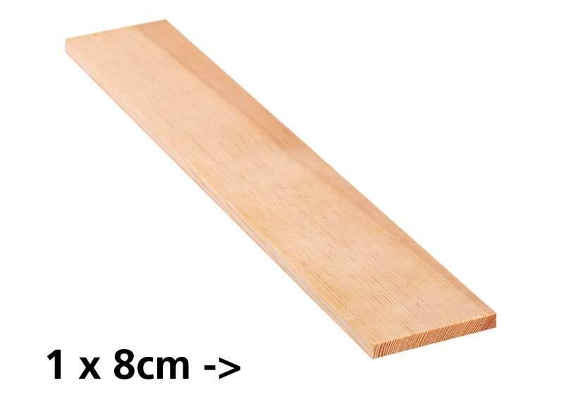 Grenen plank - 10 cm, 1 x 8 cm