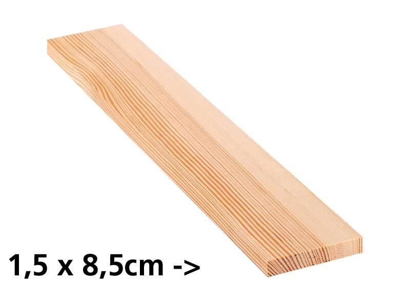 Grenen plank - 10 cm, 1,5 x 8,5 cm