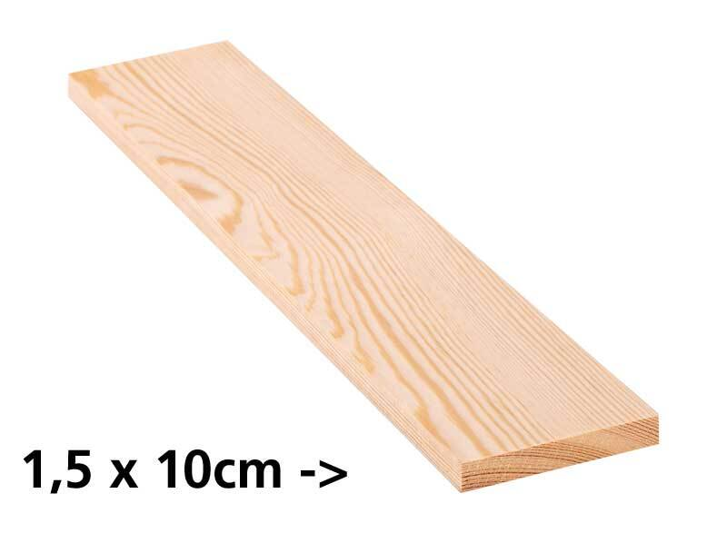 Holzbrett Kiefer - 10 cm, 1,5 x 10 cm
