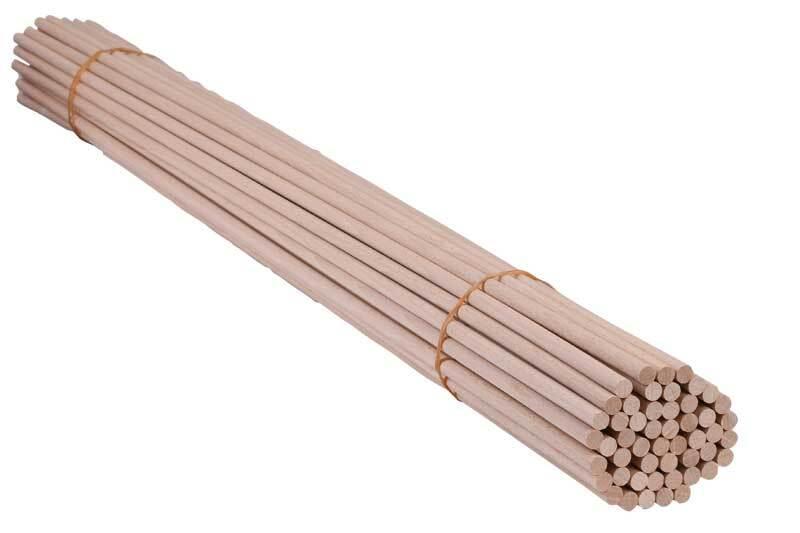 Tige ronde en bois Ø 10 mm - 50 pces, 100 cm