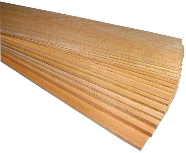 Balsahout plankjes - 10 x 50 cm, 10 mm