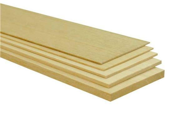 Balsahout plankjes - 10 x 50 cm, 1,5 mm
