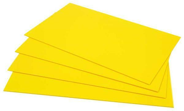 Polystyrène jaune - 2 mm, 39 x 29,5 cm