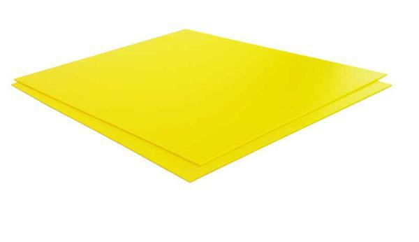 Polystyreen (polystyrol) geel-2 mm, 24,5x14,5cm
