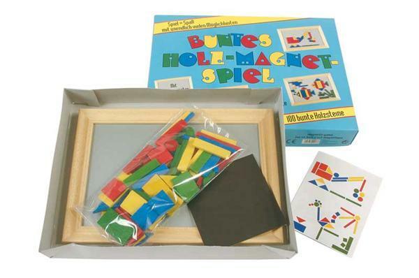 Magneetspel, 100 gekleurde houten steent