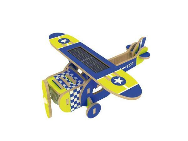 Holzbausatz Solar-Flugzeug, 14 x 15 x 6 cm