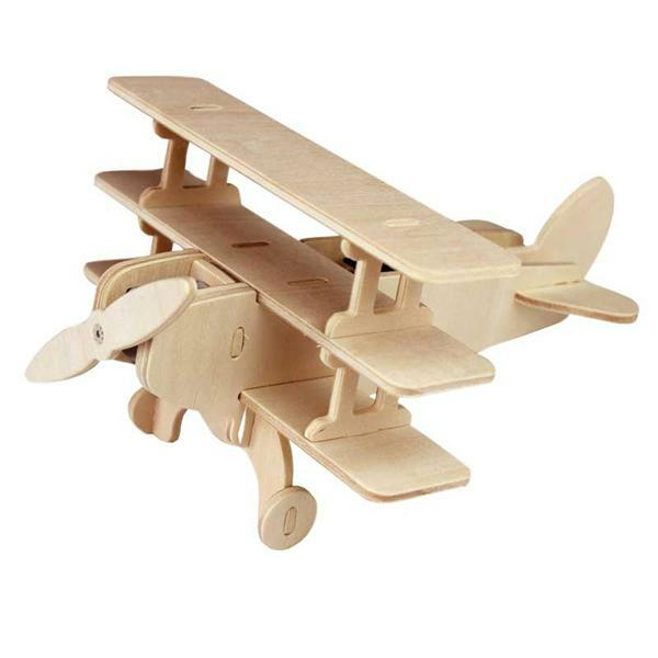 Kit en bois - Avion Triplan, 17 x 14 x 10 cm