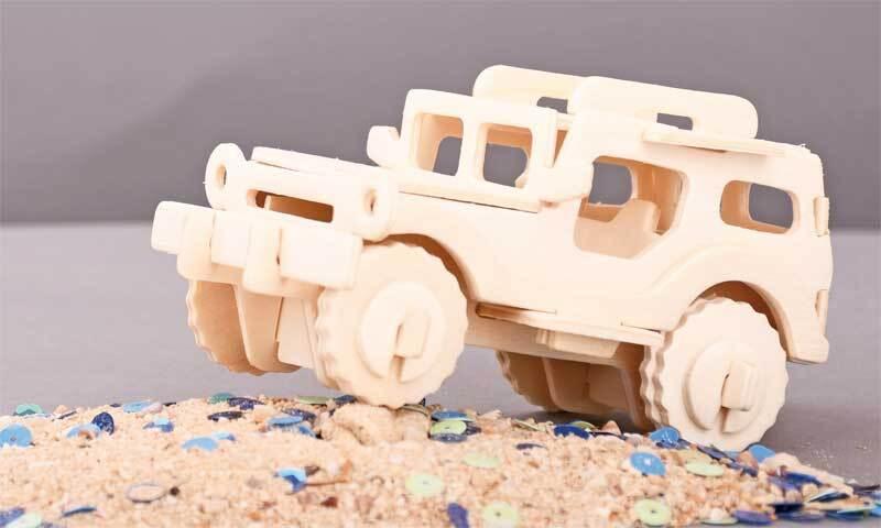 Holzbausatz Jeep ferngesteuert, 23 x 15 x 12 cm
