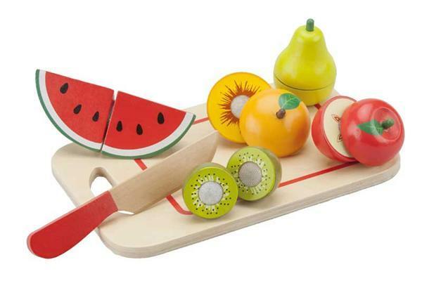 Set de découpage fruits en bois avec planchette
