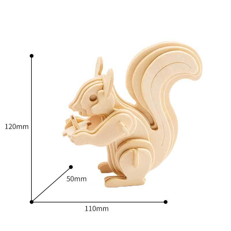 Houten bouwset - eekhoorn, 11 x 5 x 12 cm