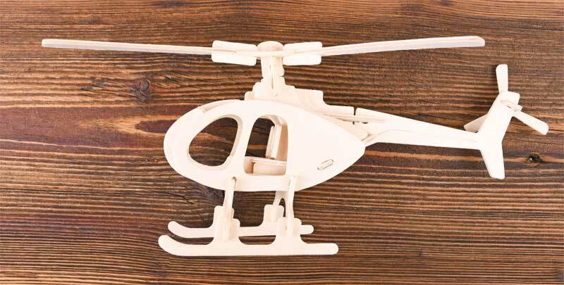Kit en bois - Hélicoptère, 26 x 26 x 15 cm