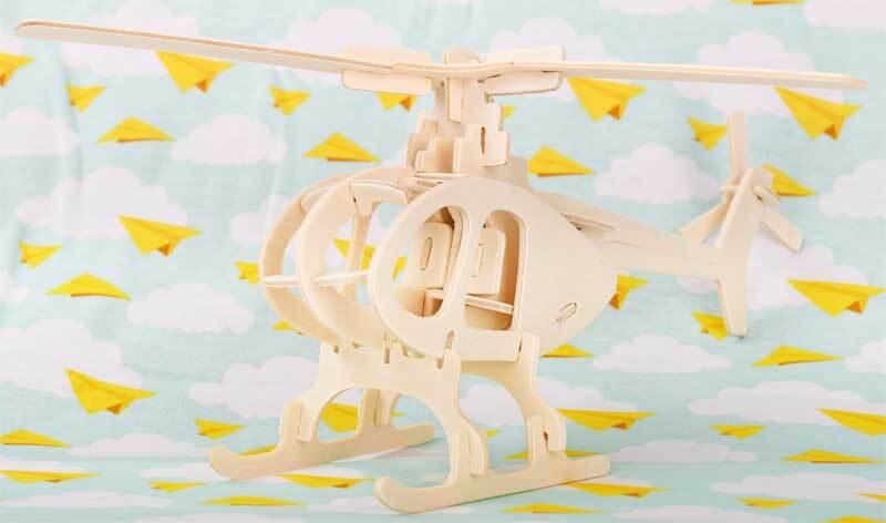 Holzbausatz Hubschrauber, 26 x 26 x 15 cm