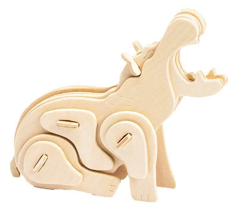Holzbausatz Nilpferd, 13 x 4 x 11 cm