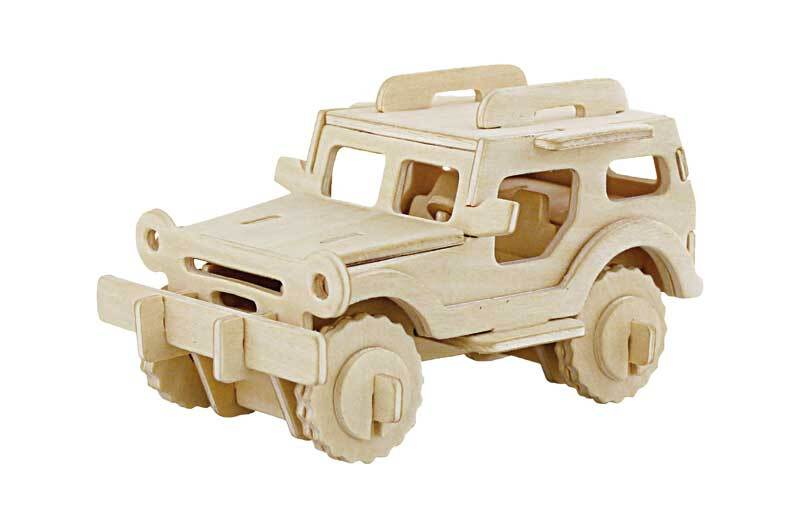 Holzbausatz Jeep, 13,5 x 7,5 x 7 cm