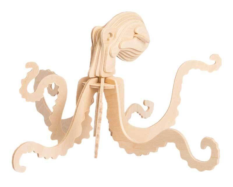 Holzbausatz Oktopus, 22,4 x 20 x 12,3 cm